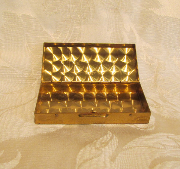 Mother Of Pearl Cigarette Box Mid Century Gold Case Excellent Condition