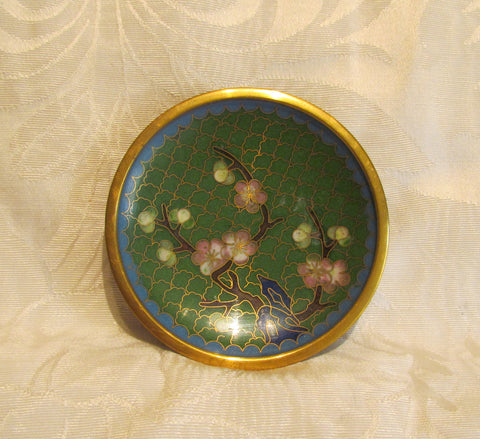 Asian Cloisonne Ashtray Cherry Blossom Small Enamel Dish Display Plate