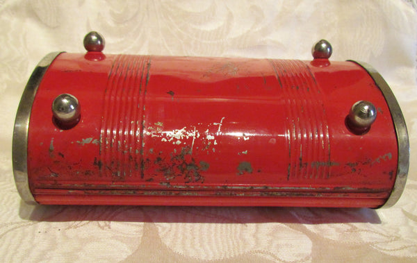 Roll Top Cigarette Box Park Sherman Red Bakelite Case Jewelry Trinket Box