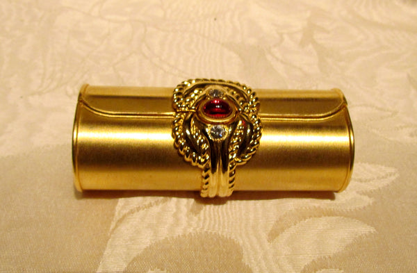 Gold Rhinestone Lipstick Case Vintage Mirror Lipstick Holder Unused