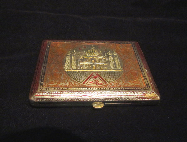 1930s Trench Art Cigarette Case Alpaca Silver Case Taj Mahal Enamel Business Card Holder
