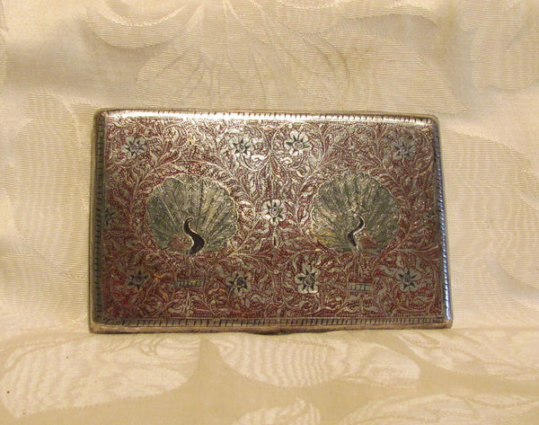 Trench Art Cigarette Case Peacock Alpaca Silver Case 1940s Enamel Business Card Holder