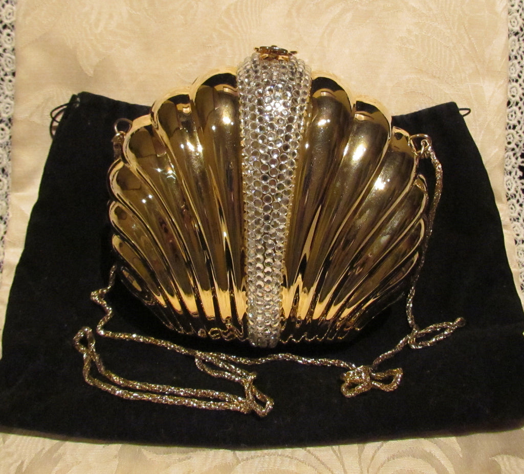 Rhinestone Gold Pillow Purse Clutch Or Shoulder Clam Shell Purse Bling Bag