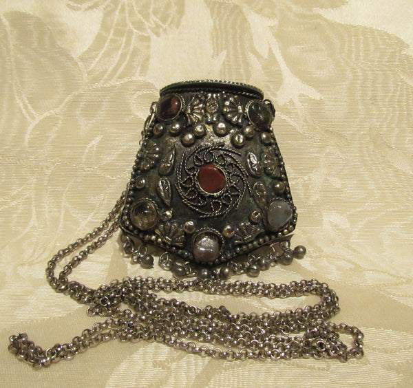 Tibetan Silver Coin Purse Shoulder Necklace Metal Change Purse Natural Stone Accents