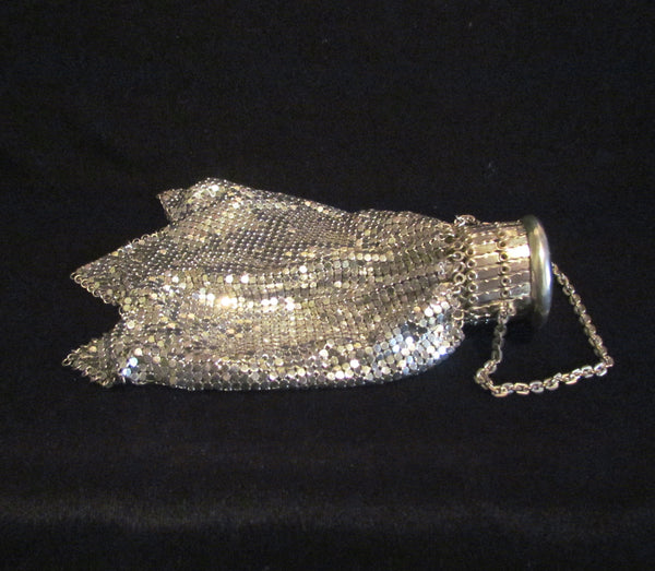 Silver Mesh Gate Top Purse Whiting Davis Wedding Purse Accordion Bridal Bag Art Deco Evening Bag