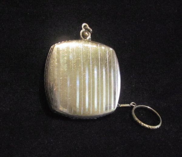 Finberg Guilloche Compact Finger Ring Purse Silver FMCO Dance Purse