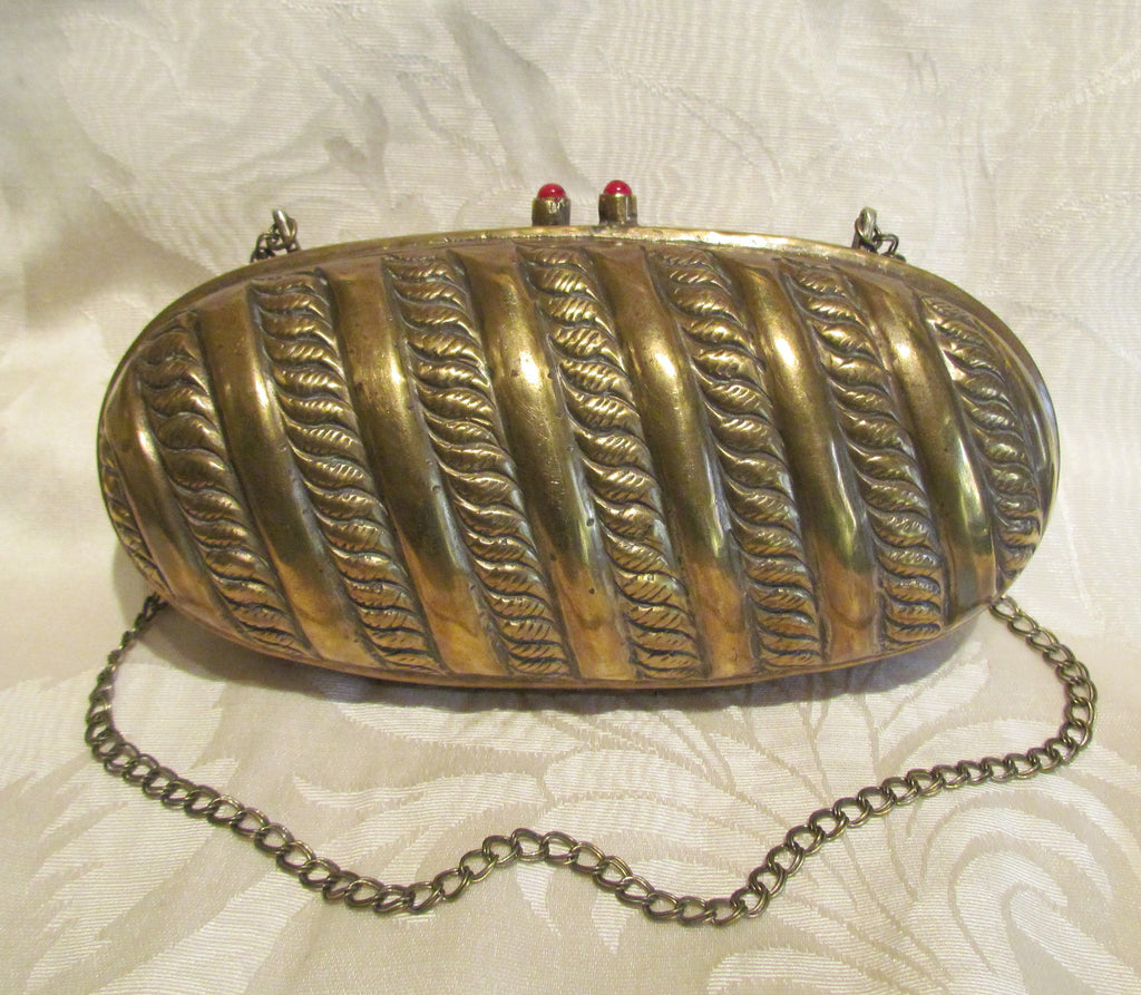 Art Deco Brass Shell Purse Pillow Handbag Antique Evening Bag Formal