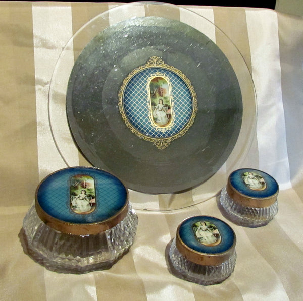 1930s Celluloid Vanity Set Mirror Tray Powder Jar Victorian Scene 4Pc Dresser Set