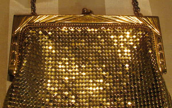 Art Deco Gold Purse Whiting Davis 1940s Mesh Purse Mint Condition Evening Handbag