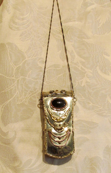 Handmade Silver Compact Purse Metal Pillow Purse Onyx Stone Bohemian