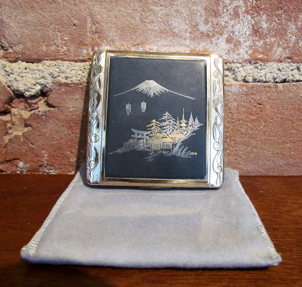 24K Gold Etched Asian Vintage Powder Compact Mt Fuji