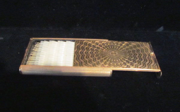 Vintage Stratton Compact Brush Gold Engine Turned Design