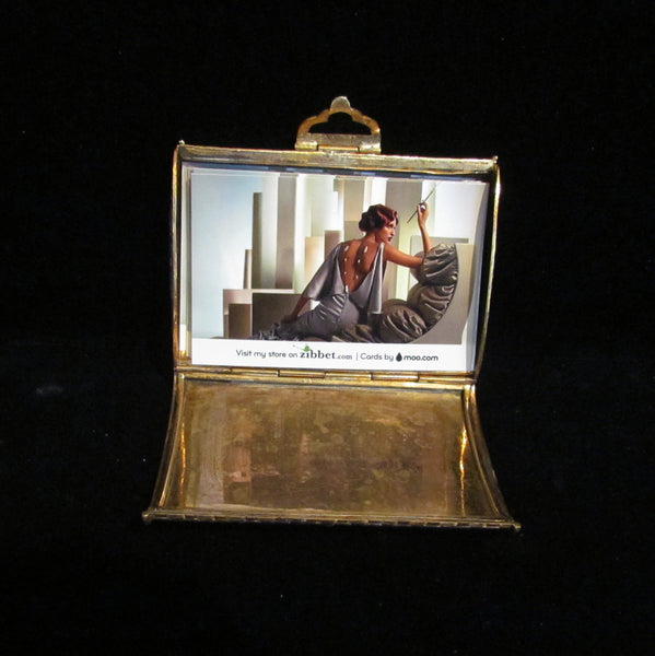 Italian Champleve Gold Calling Card Case Turqouise Enamel Purse