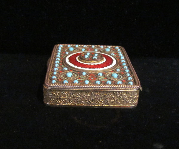 Circa 1890 French Gold Ormolu Compact Red Guilloche Enamel Turquoise Stones