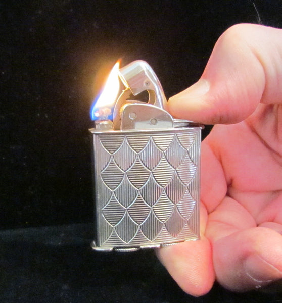 Evans Spitfire Lighter Silver Art Deco Working Pocket Lighter