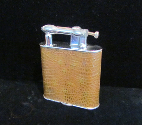 "Vintage Lift Arm Table Lighter With Leather Wrap Jumbo 4 1/4"" Size"