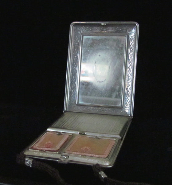 Art Deco Mondaine Enamel Compact Purse Original Box Excellent Condition