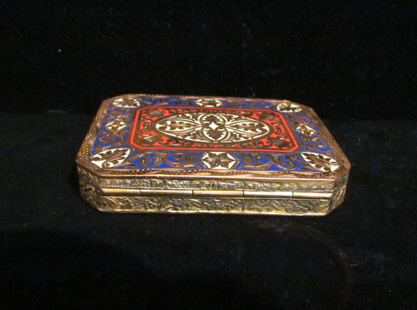 Antique Compact Italian Champleve Enamel Gold Gilt Powder Box