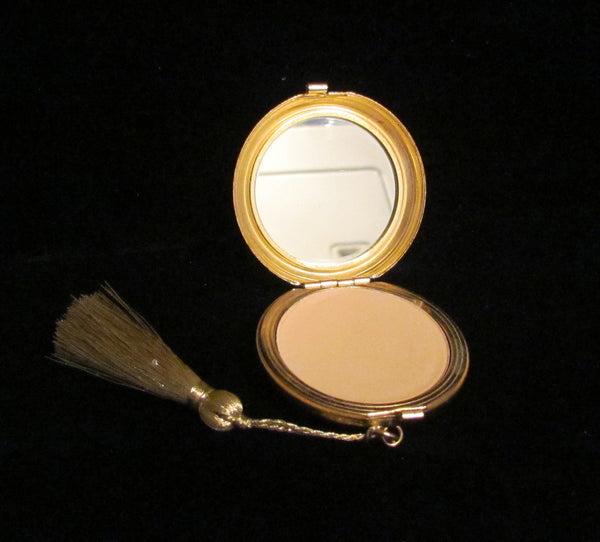 Revlon Love Pat Clock Compact 1970's Gold & Green Enamel Powder Mirror Compact