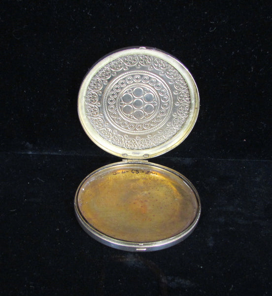 Antique French Gold Compact Blue Stones Late 1800's