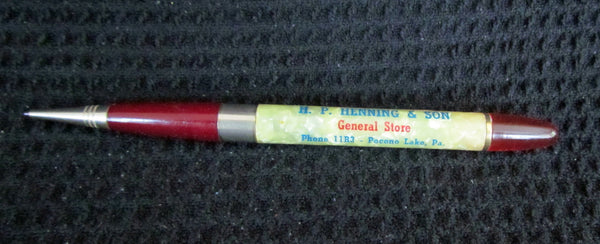 1940's Mechanical Pencil Advertising Propelling Pencil General Store Pocono Lake, Pa