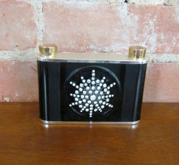 Vintage Rhinestone Lighter Lipstick Cigarette Case Purse 1950's Unique Compact Purse