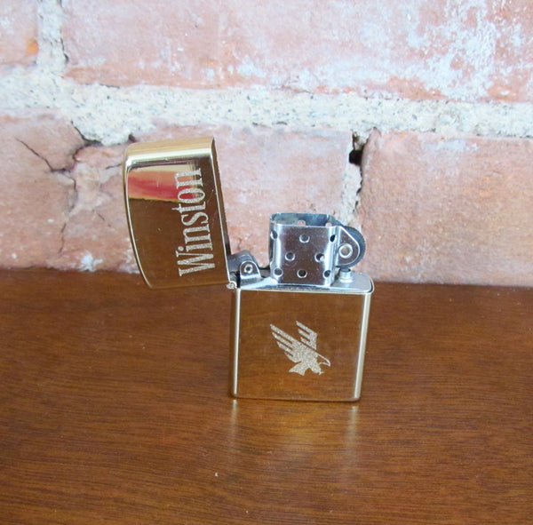 Winston Pocket Lighter 1990s Eagle Flip Top Windproof Gold Lighter Working