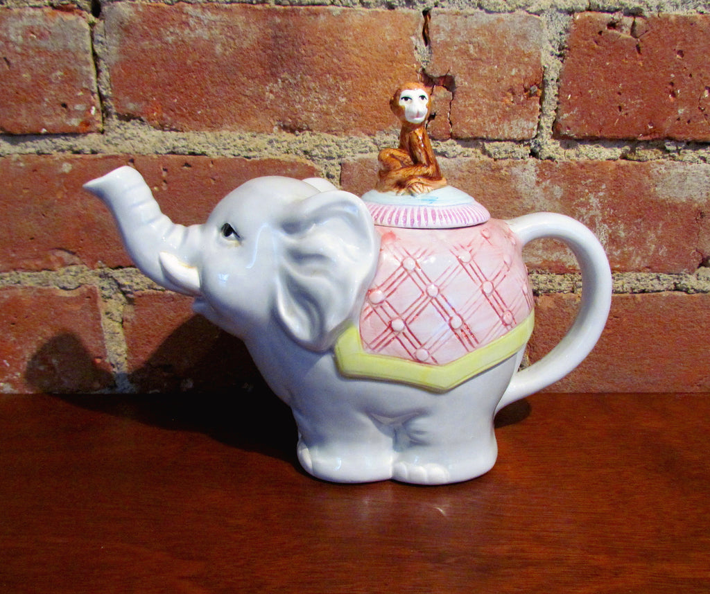 Vintage Elephant And Monkey Teapot Ceramic Tea Pot