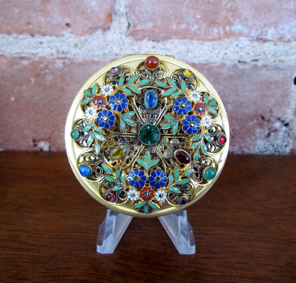 Victorian Gold Jeweled Enamel Compact Antique Floral Design