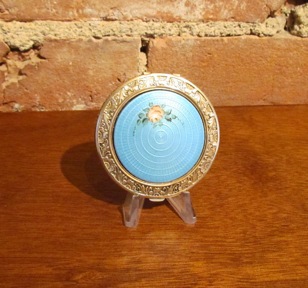 1920 Guilloche Enamel Powder Rouge Mirror Compact