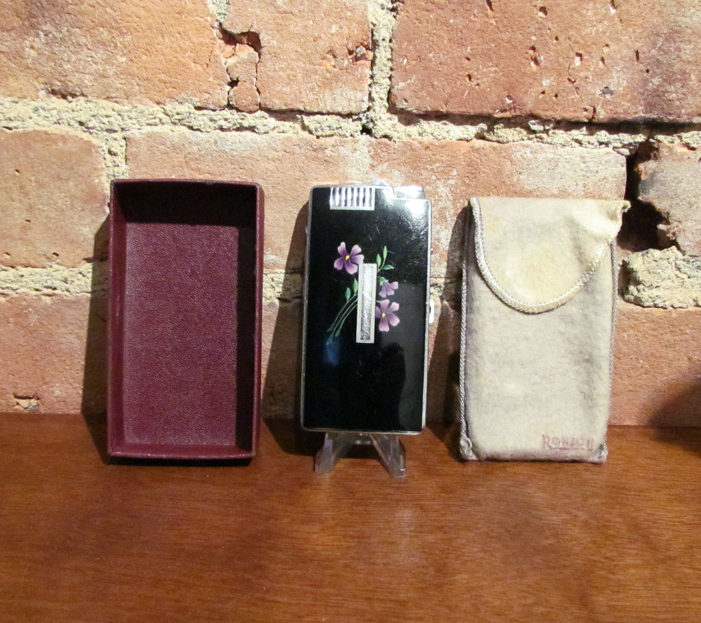 Ronson Pocket Pal Case Lighter Ladies Violet Floral Vintage Working Cigarette Case