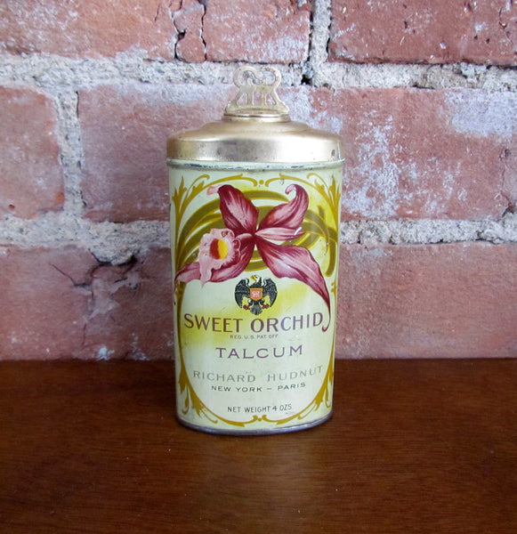 1920s Sweet Orchid Talcum Powder Tin Richard Hudnut Rare