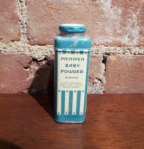 Mennen Baby Powder Tin Vintage 1930's Lithograph Talcum Can Full