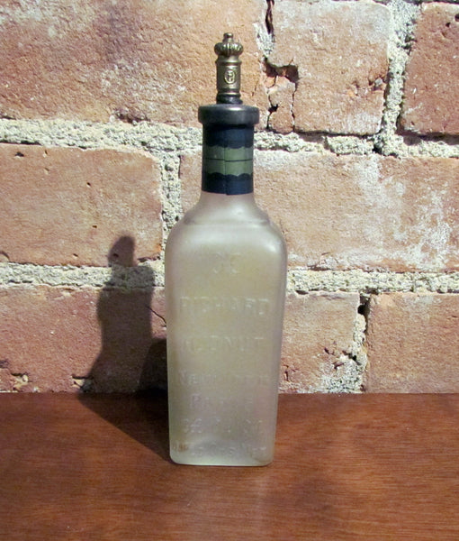 Antique Perfume Bottle Richard Hudnut Gardenia Frosted Glass Bottle In Original Box