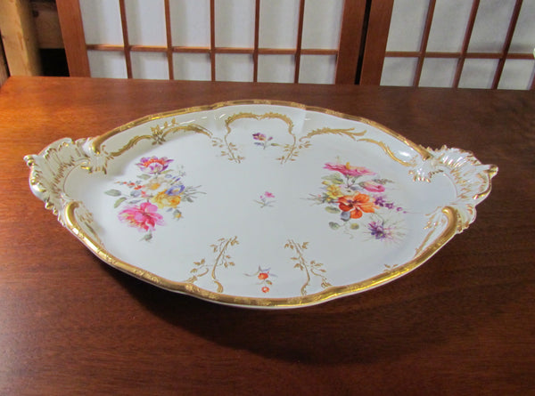 Antique KPM Dresden Floral Porcelain Dresser Tray, Serving Plate Berlin Imperial Orb Mark
