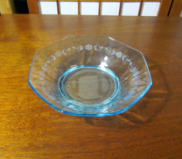 Blue Depression Glass Bowl Candy Dish Berry Dish Floral Etched Pattern