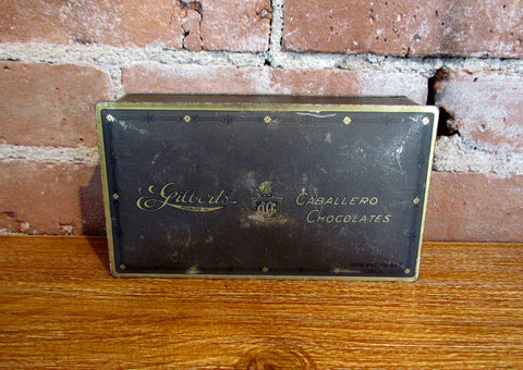 Vintage Gilberts Caballero Chocolate Tin Candy Box Jackson Michigan
