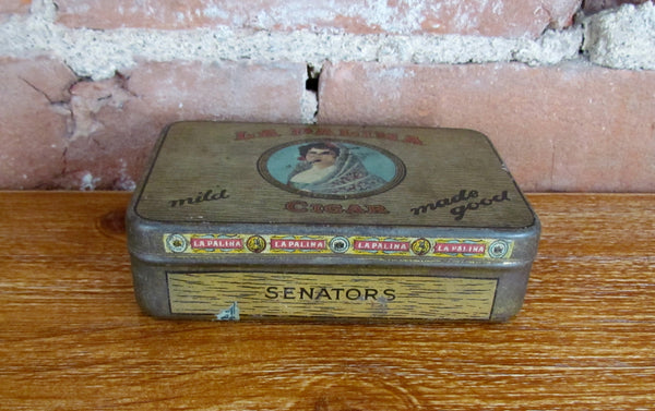 La Palina Senators Cigar Tin Antique Advertising Metal Box