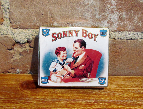 Rare Sonny Boy Cigarette Tin Vintage Litho Advertising Metal Box