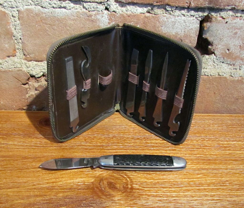 Rare Genuine Alligator Leather Men's Travel Tool Kit w/Pocket Knife