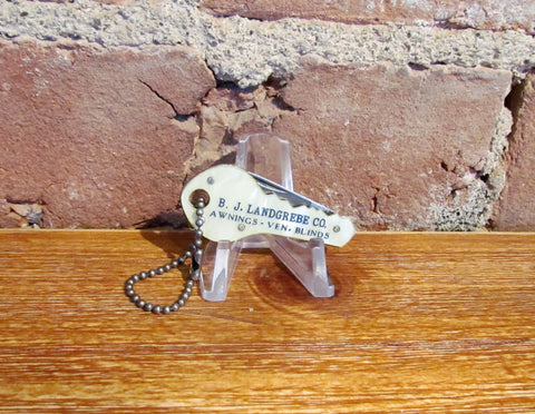 Vintage Key Shaped Pocket Knife Advertising B J Landgrebe Co.