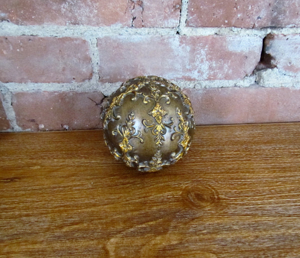 Antique Bronze Style Decorative Ball Orb Sphere Gold Accents