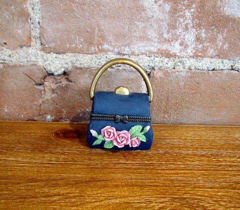 Vintage Mini Purse Trinket Box Blue Ceramic w/Roses