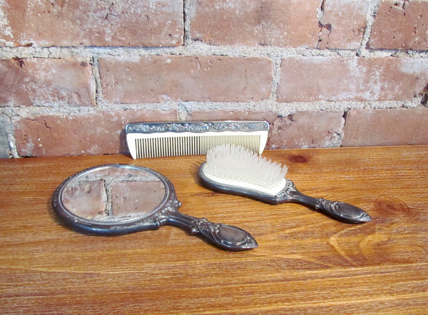 Silver Plated Vanity Set Vintage Dresser Brush Mirror & Comb