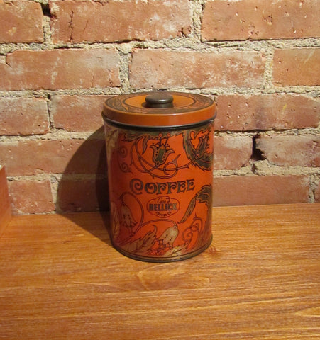1930s Hellick Coffee Tin Large Canister Advertising