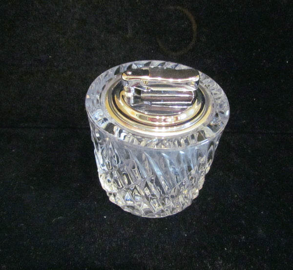 Table Lighter German Cut Lead Crystal Silver Colibri Butane Working Lighter