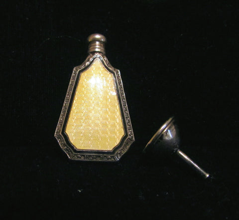Art Deco Perfume Bottle Webster & Co Sterling Silver Yellow Enamel Guilloche Perfume Bottle Flask And Funnel