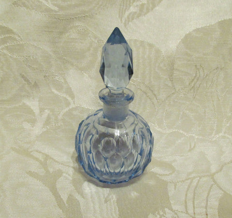 1940s Cut Crystal Perfume Bottle Light Blue Depression Glass