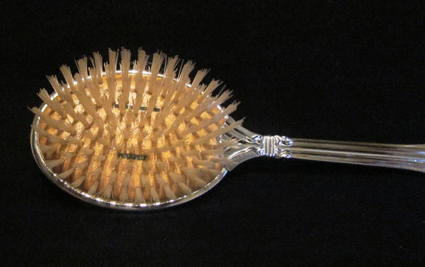 1940s Picadilly Vanity Set Mirror Brush Tray & Clothing Brush Celluloid Guilloche Dresser Set Made In England