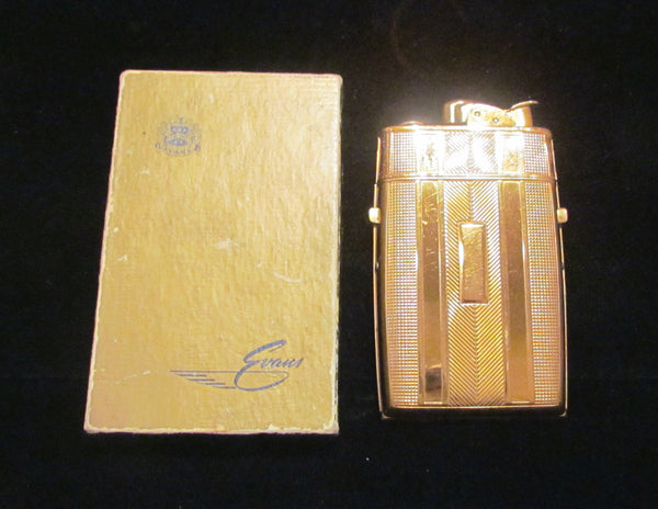 1940's Evans Cigarette Case Lighter Gold Working Original Box Stunning Condition